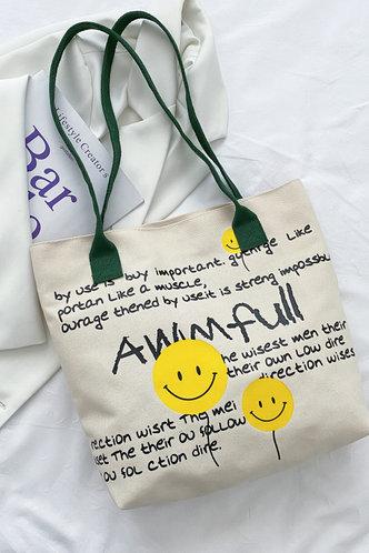 back_Cicely Elva Letter And Emoji Print Tote Bag