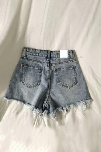 back_Dorothy Pilk Wash Light Blue Denim Shorts