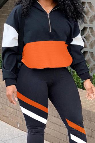 front_Colorblock Elastic Waist Colorblock Plus Size Pants Sets