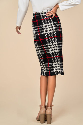 back_Strictly Business Black And White Plaid Skirt