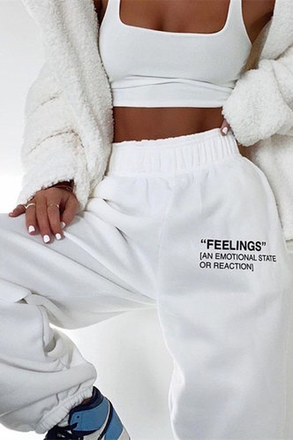 front_Garnet Casual White Sweatpants