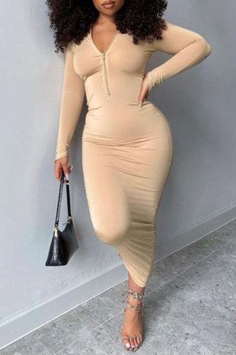 front_V Neck Regular Sleeve Nude  Dresses
