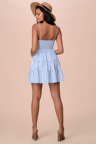 back_Beach Day White And Blue Striped Mini Dress