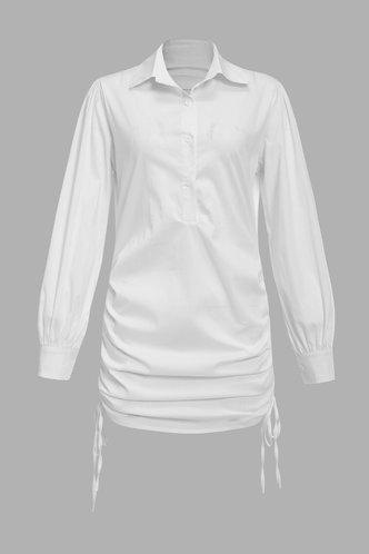 back_Daily Shopping Above Knee Long Sleeve Regular Sleeve White Plain Dresses