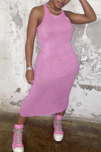 front_Caroline Kvarop Pink Tank Dress