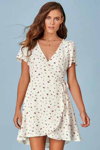 front_Sweet As Pie White Floral Print Mini Dress