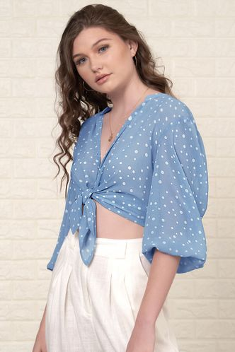 front_Personal Best Blue Polka Dot Blouse