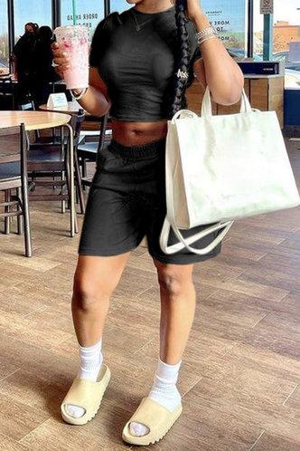 back_Joyce Eunice Black Shorts Set