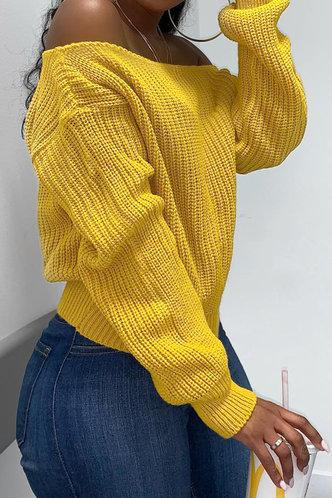 back_Off the Shoulder Plain Ginger Sweaters