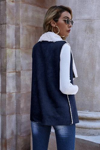 back_Ada Eileen Navy Blue Suede Vest Coat