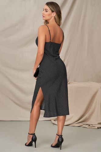 back_Anything You Want Black Polka Dots Midi Dress