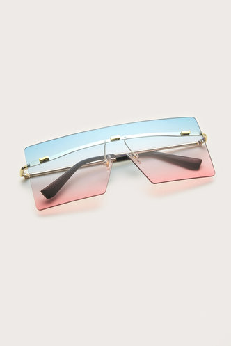 front_Gertie Eleanore Blue And Pink Square Frame Sunglasses