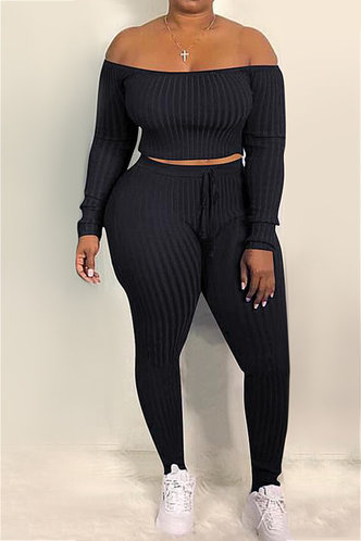 front_Pullover and   Black Plus Size Pants Sets
