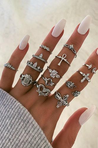 front_Annabel Elsie Sliver Rhinestone Charm Ring 14pcs
