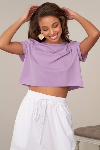 front_Mountain And River Roads Purple Short Sleeve Top