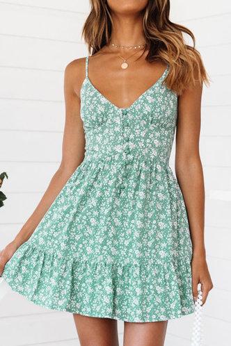 front_Jennifer Eartha Green Floral Print Button Front Dress