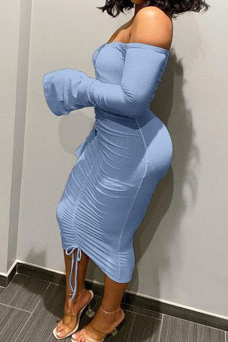 back_Long Off the Shoulder Blue Plain Dress
