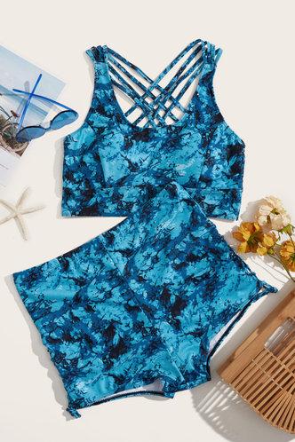 back_Suzan Eleanore Blue Tie Dye Plus Tankini