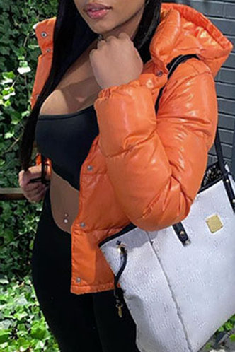 back_Chic Hoodie Plain  Orange Outerwear