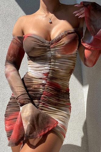 front_Hermosa Eudora Tie Dye Off Shoulder Drawstring Dress