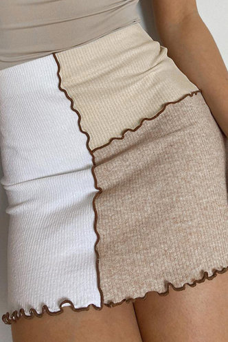 back_Geraldine Elsa Beige Colorblock Skirt