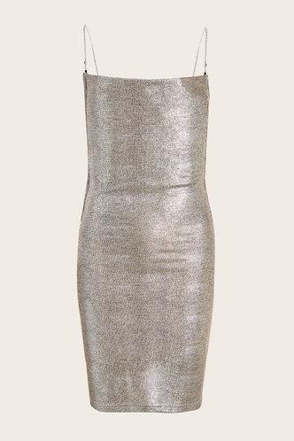 front_Melba Silver Open Back Dress