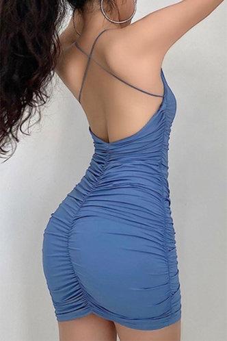 front_Violet Elizabeth Rusty Blue Open Back Ruched Dress