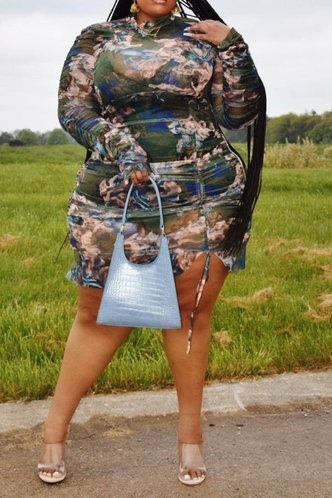 back_All Over Print   Oil Painting Print  Plus Size Dresses
