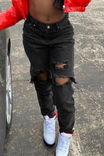 front_Mid Waist Plain   Straight Leg  Black Jeans