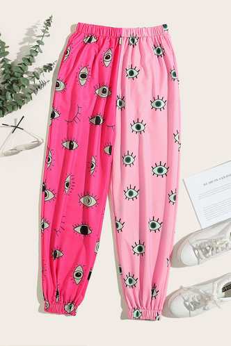 back_Winnie Elsa Pink Cartoon Eye Print Sweatpants