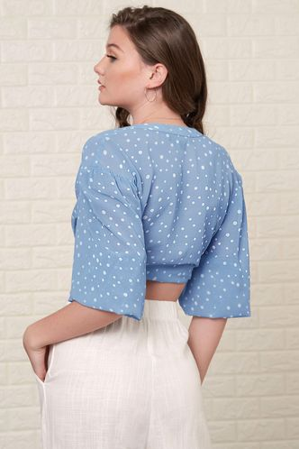 back_Personal Best Blue Polka Dot Blouse