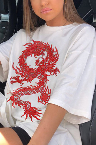 back_Buena Edith White And Red Dragon Print Tee
