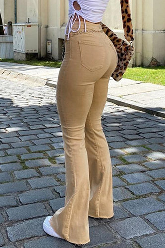 back_Racham Khaki Flare Jeans
