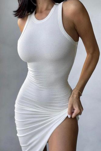 front_Elsa Maksipes White Bodycon Dress