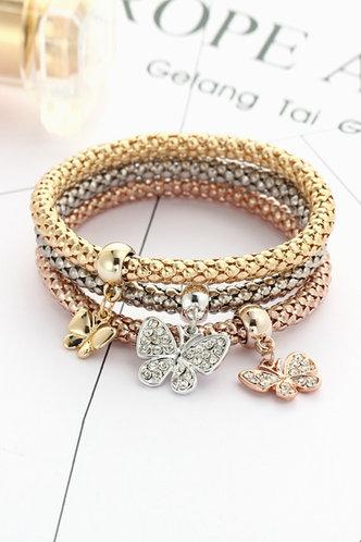 front_Hayley Elvira Multicolor Rhinestone & Butterfly Detail Bracelet 3pcs