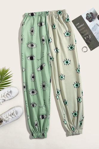 back_Winnie Elsa Green Cartoon Eye Print Sweatpants