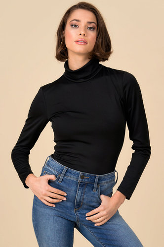 front_Plain And Simple Black Turtleneck Top