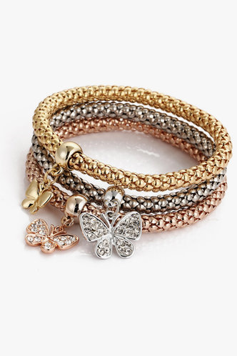 back_Hayley Elvira Multicolor Rhinestone & Butterfly Detail Bracelet 3pcs