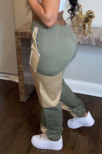back_Mid Waist Hollow Out Cargo Pants Green And Khaki Pants