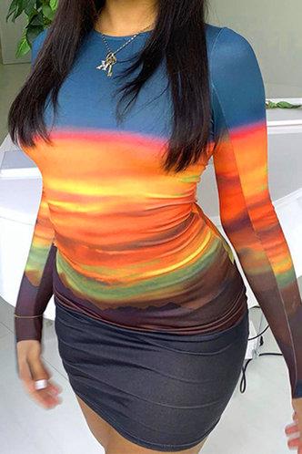 back_Hester Elsie Sunset Print Bodycon Dress