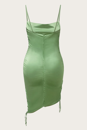back_Casual Above Knee U Neck Green Plain Dresses