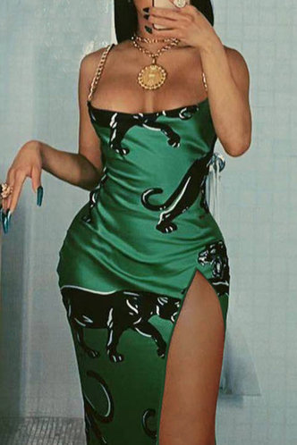 front_Hilda Montum Emerald Green Cami Split Thigh Dress