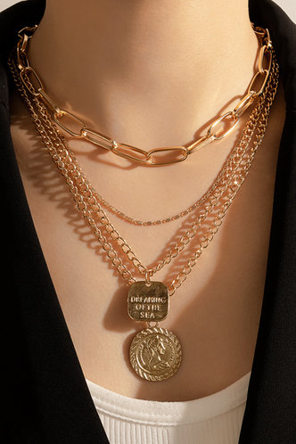 front_Anstey Elizabeth Gold Coin Pendant Layered Necklace