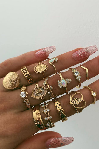 front_Michaelia Elaine Gold Rhinestone Decor Rings 15pcs