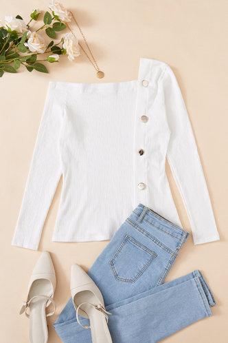 front_Plain Long Sleeve One Shoulder Slim Fit Beige Tees