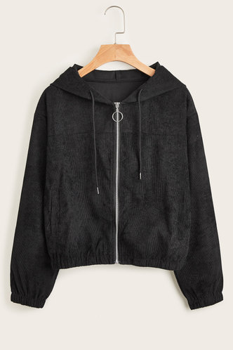front_Act Casual Black Hoodie