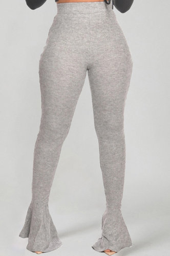 back_High Waist Pencil Pants Light Heather Grey Pants