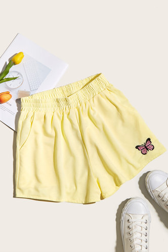 front_Like To Lounge Yellow Shorts