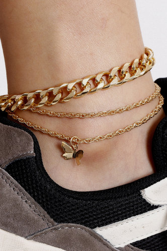 front_Maggie Edwina Gold Butterfly Charm Anklet