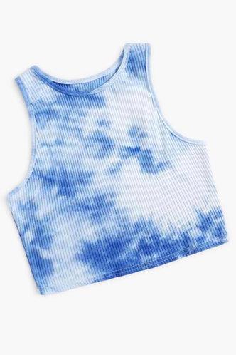 front_Flo Edith Blue Tie Dye Crop Top